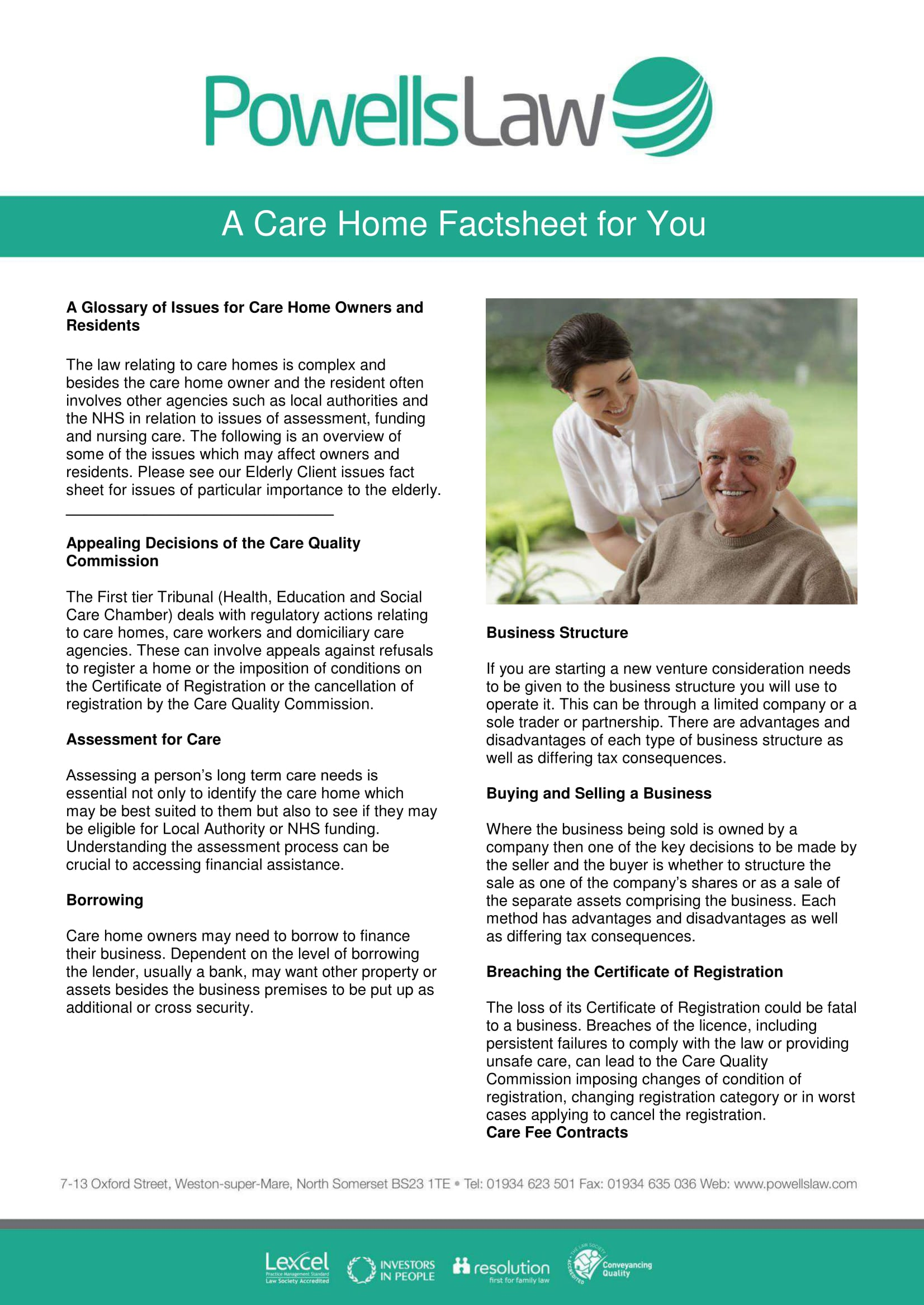 Powells Law Factsheet Template Care Homes 1