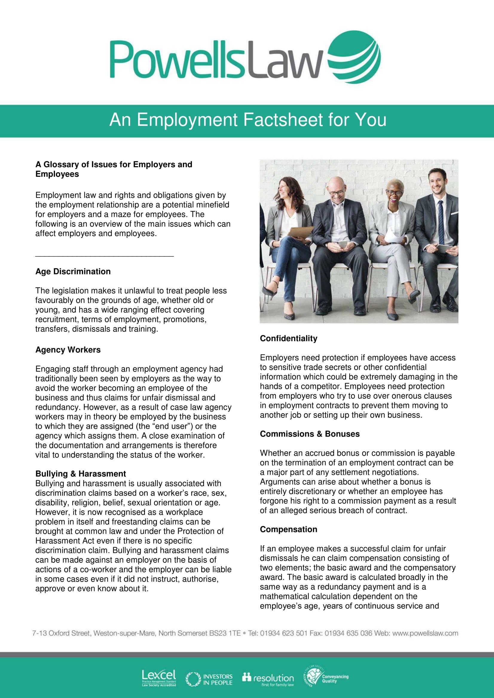 Powells Law Factsheet Template Employment 1